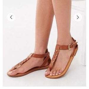 Forever 21 brown leather ankle strap thong sandals